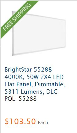 brightstar LED flat panel dimmable light fixture