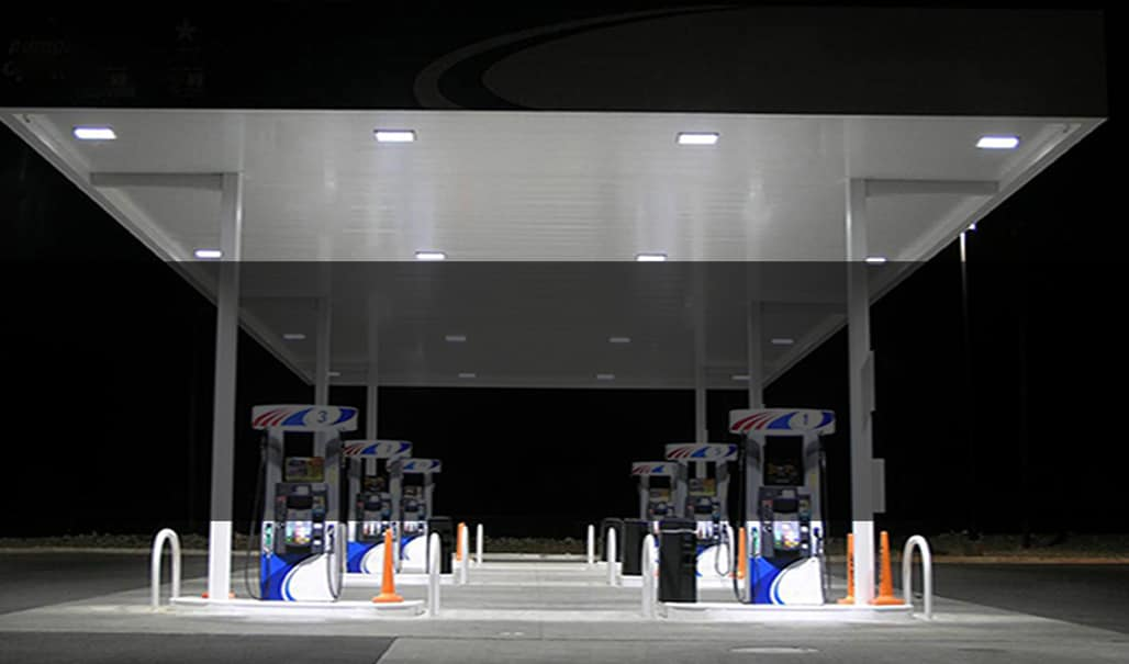 LED canopy lighting at gas station