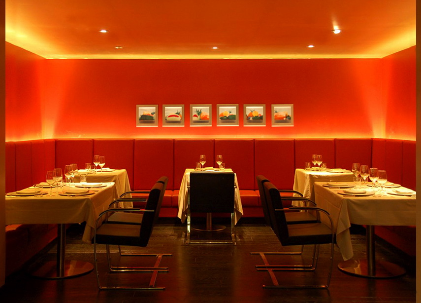 orange walls in restaurant for ambient lighting