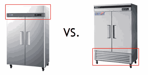 top-mounted vs bottom-mounted compressors on commercial refrigerator
