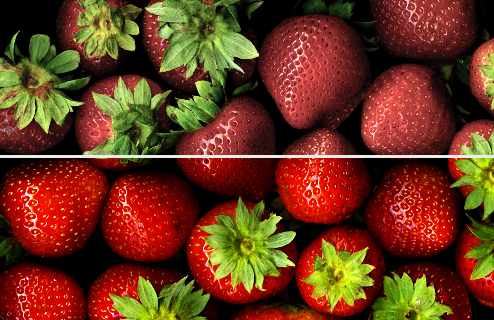 strawberries with high and low CRI