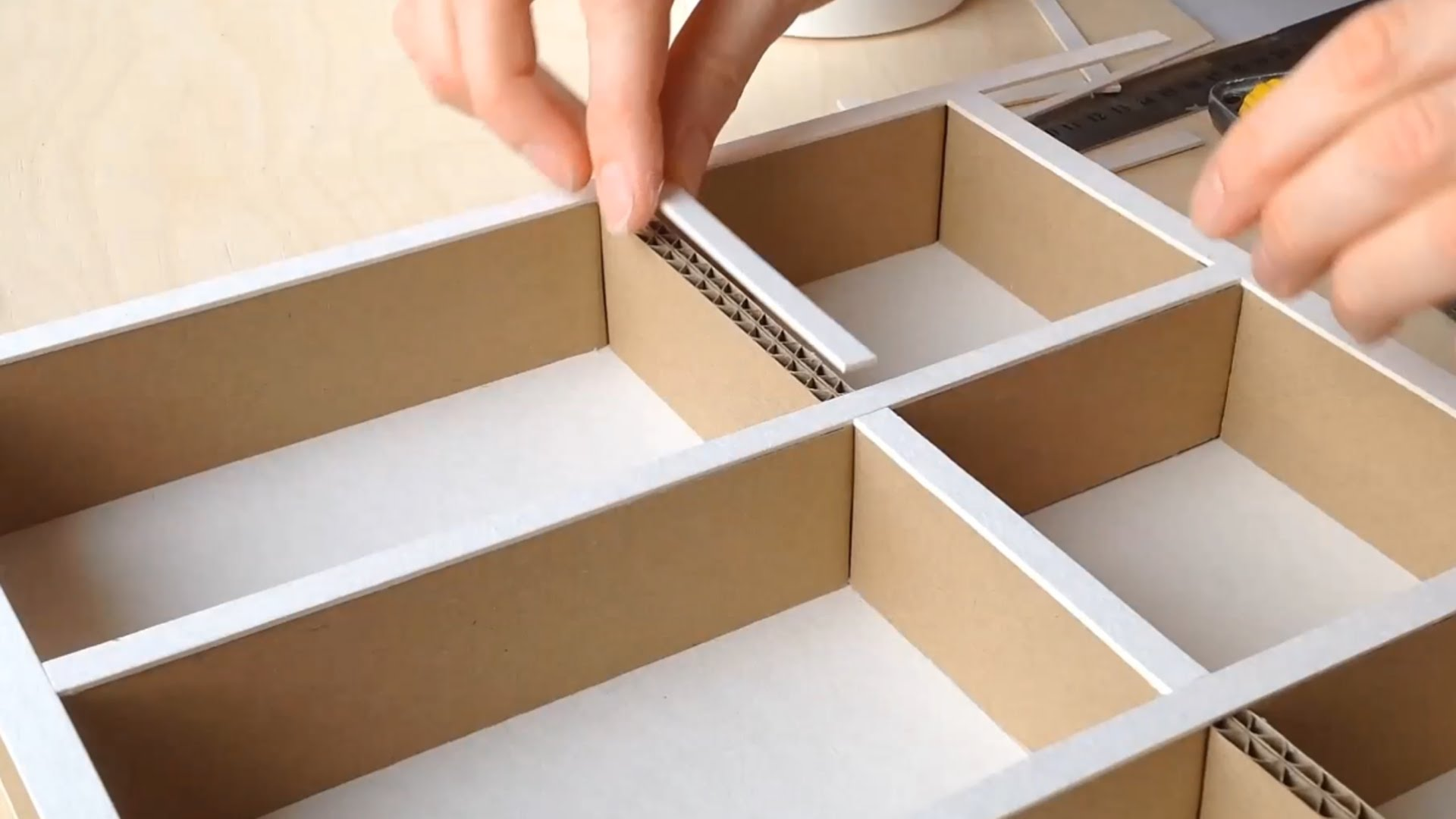 Learn how to make a DIY cardboard desktop organizer