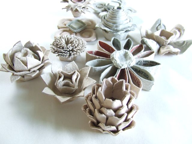 recycled egg carton DIY flowers