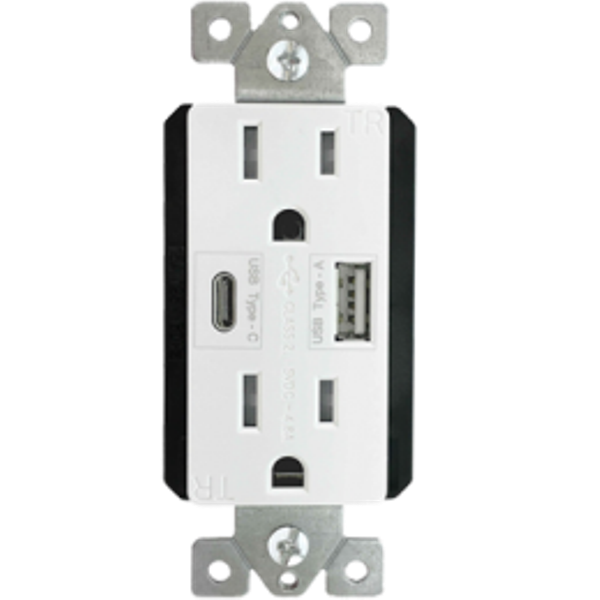 enerlites duplex receptacle with dual usb ports and a type c charging port