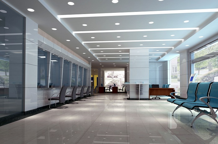 general lighting in office building with recessed downlights