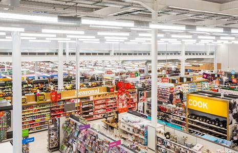 panel lighting inside grocery store