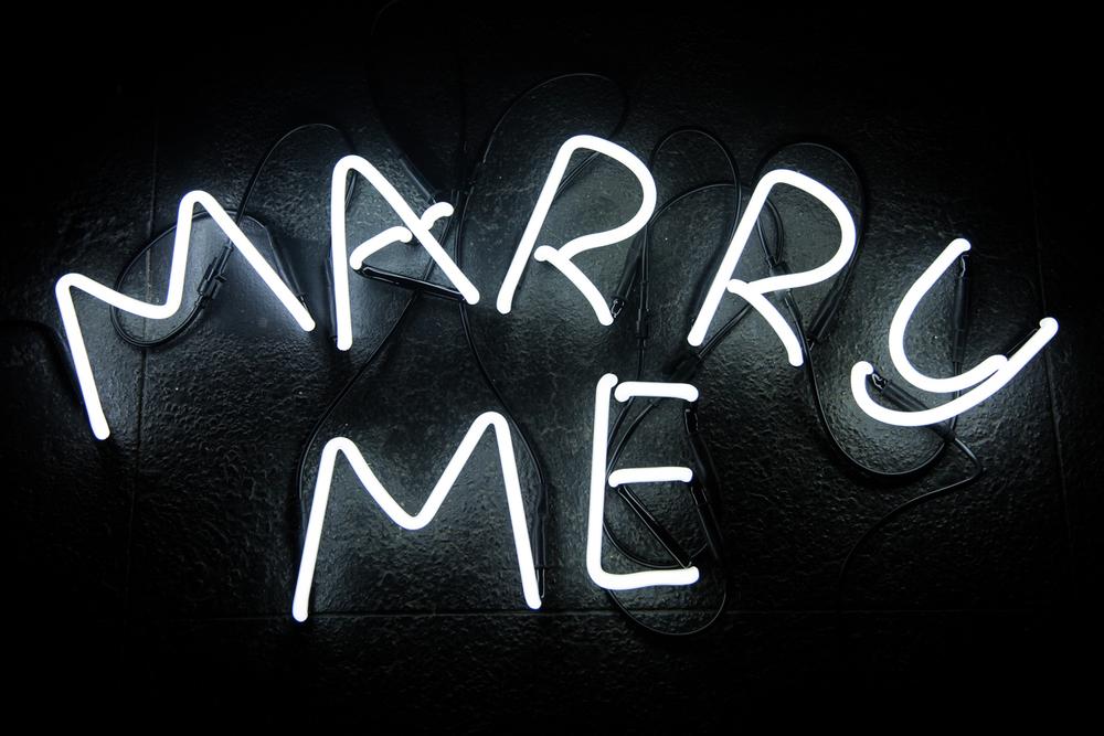 Strip lights spelling marry me