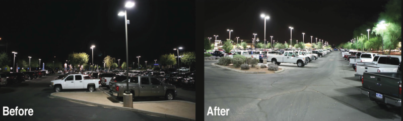 before and after metal halide to LED outdoor light fixtures