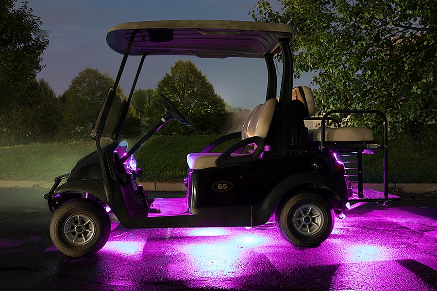 Golf with LED strip lights attached to it
