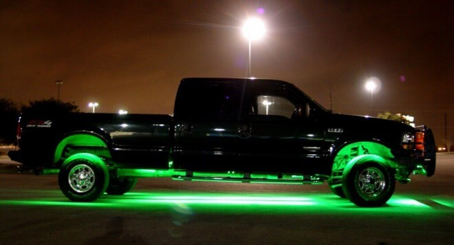 Truck with LED strip lights underneath