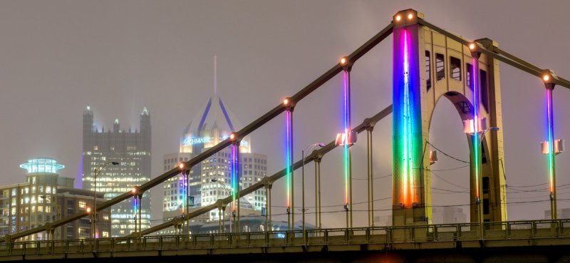 Energy flow LED light show at Pittsburgh's Rachel Carson Bridge