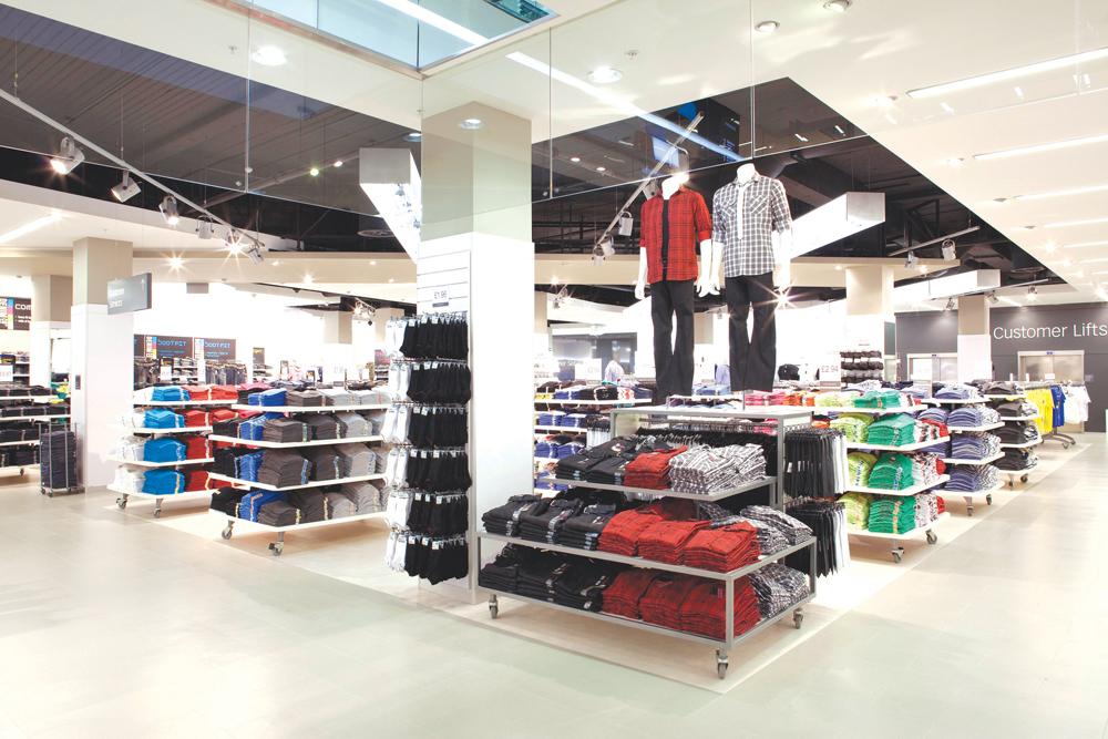 bright lighting inside retail store
