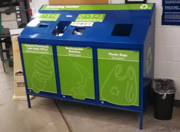 retail store recycling bin for used LEDs