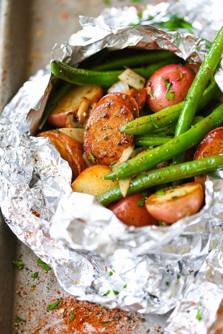 campfire grilled sausage with potatoes and green beans recipe
