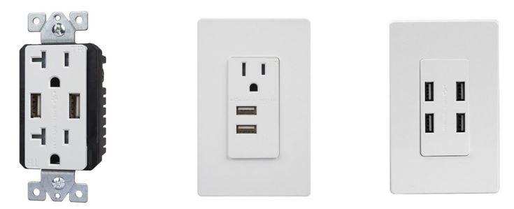 20 amp duplex receptacle with two USB ports