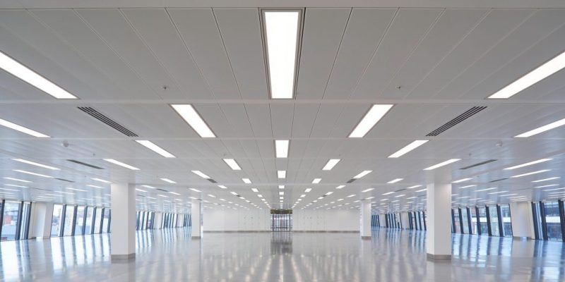 bight led tubes in commercial building