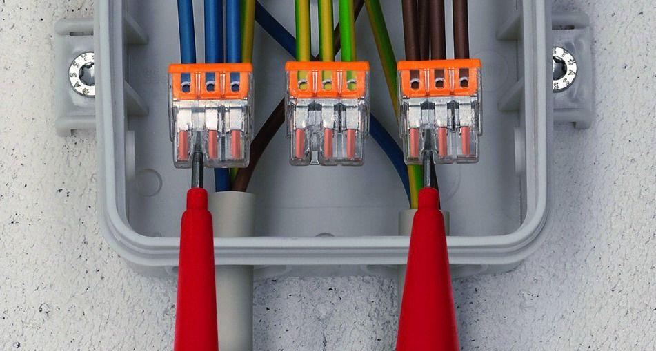 Voltage testing a Wago wire connector