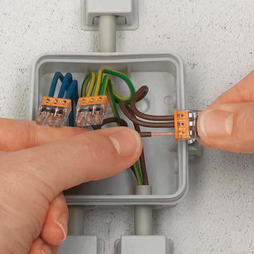 wago connectors attached to electrical wiring