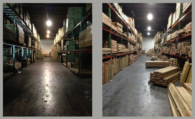 before and after metal halide to LED warehouse light fixtures