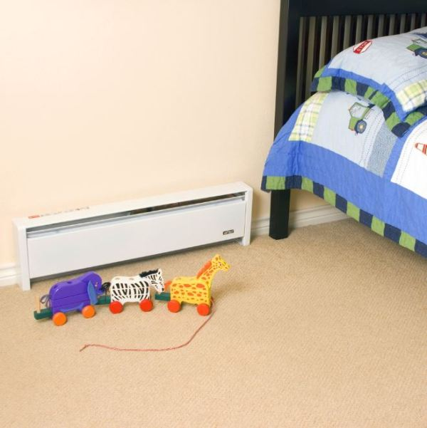 Toys in front of baseboard heater