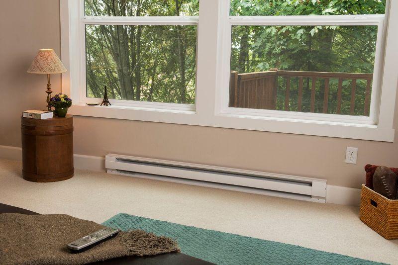 Baseboard heater under a window