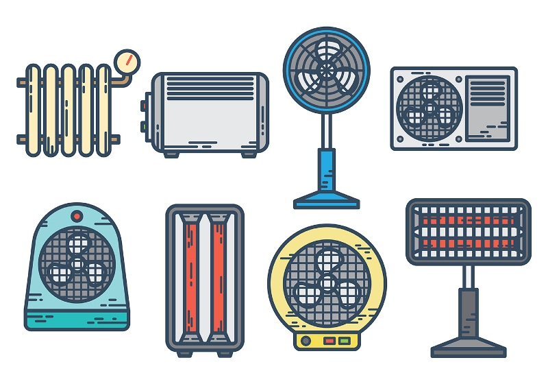 Different space heater types