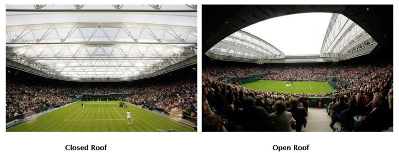 Centre Court retractable roof open and close before and after