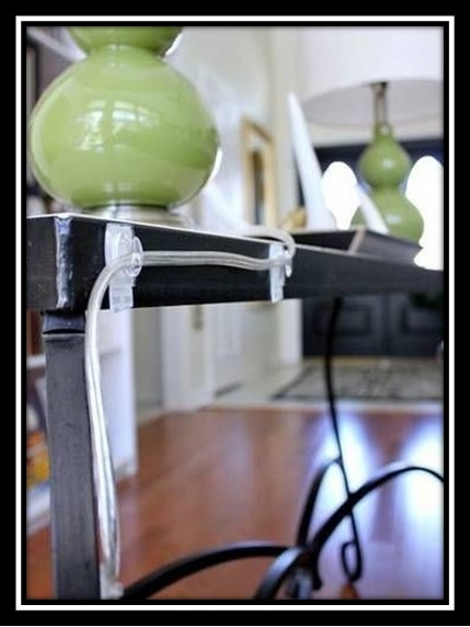 table lamp cord hidden using clear command hooks
