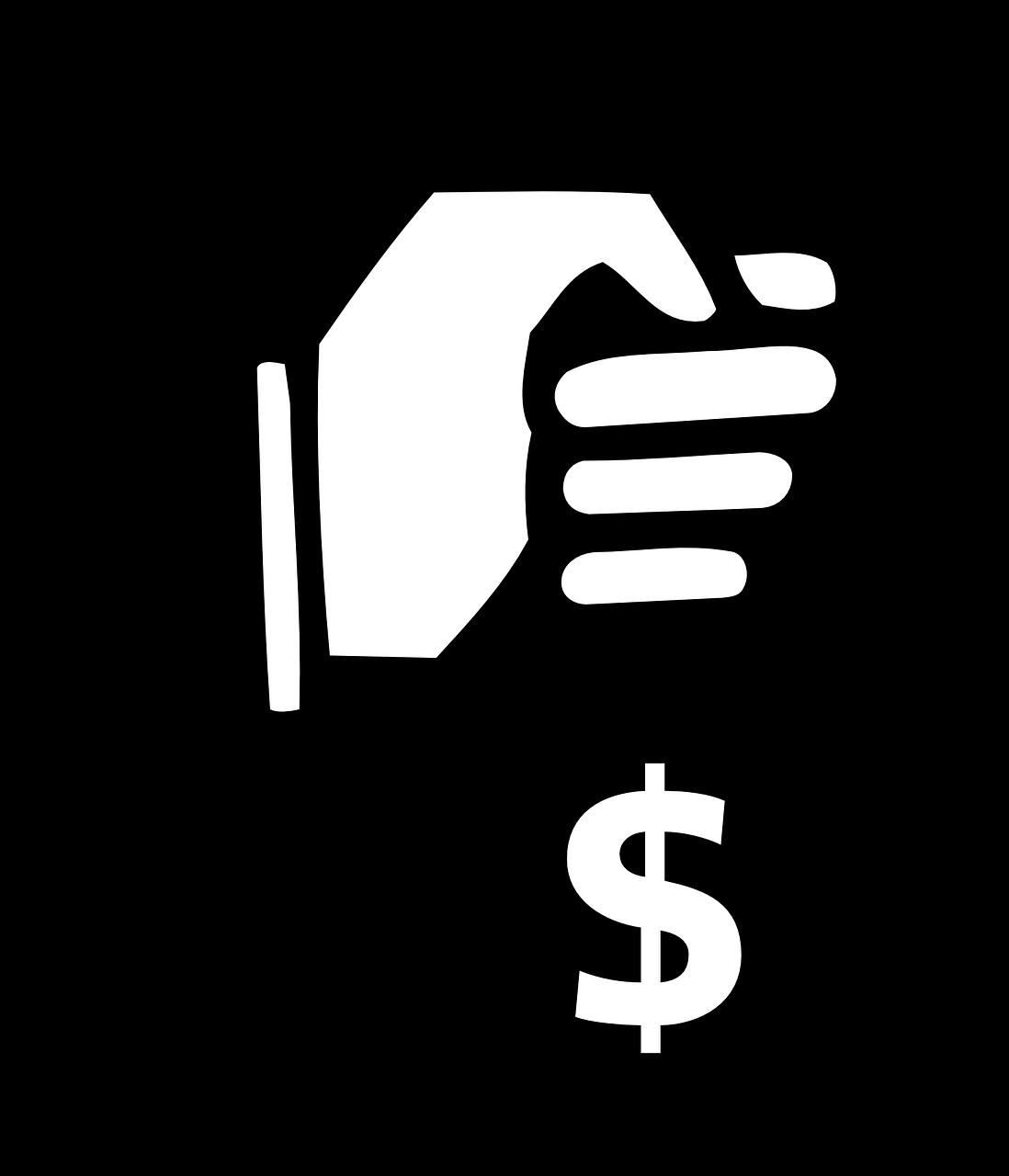 Hand holding money bag