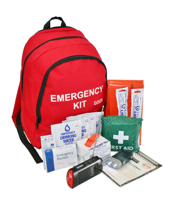 backpack first aid emergency kit with contents showing
