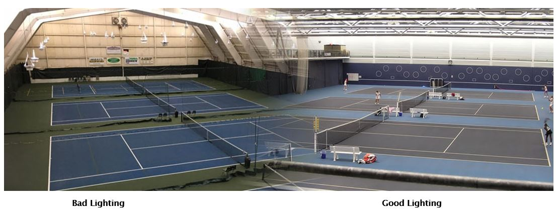 Before and after LED lighting next to Metal Halide indoor tennis court lighting