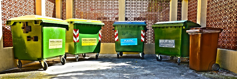 Recycling bins for different materials