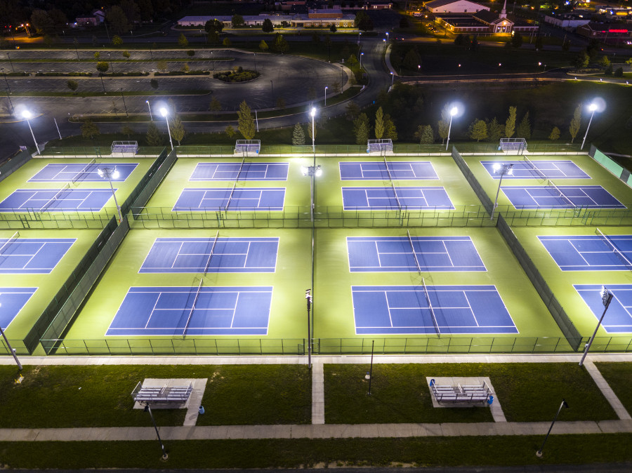outdoor tennis court lighting with LED fixtures