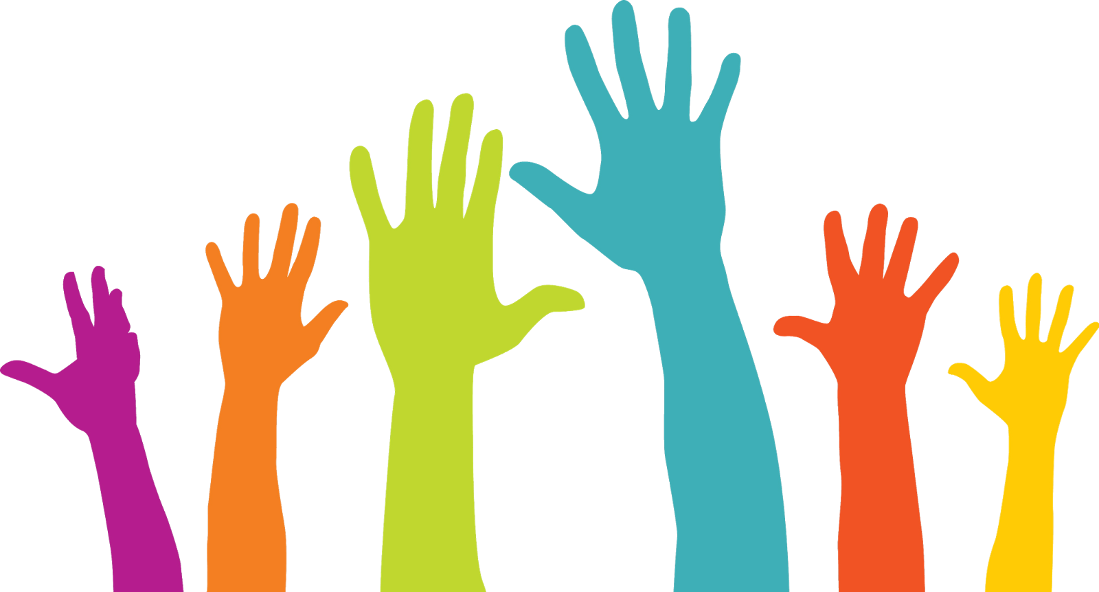 multi-colored hands reaching up