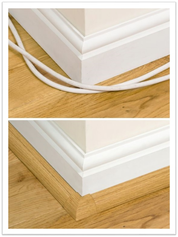before and after image using wood-grain raceways on baseboard
