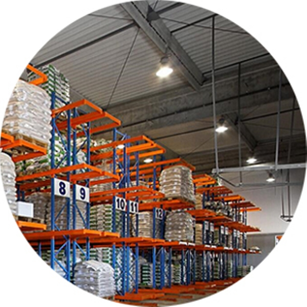 LED high bay light in warehouse