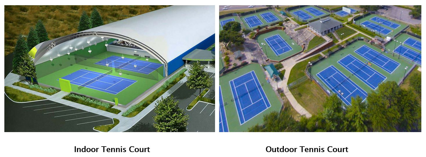 indoor and outdoor tennis courts