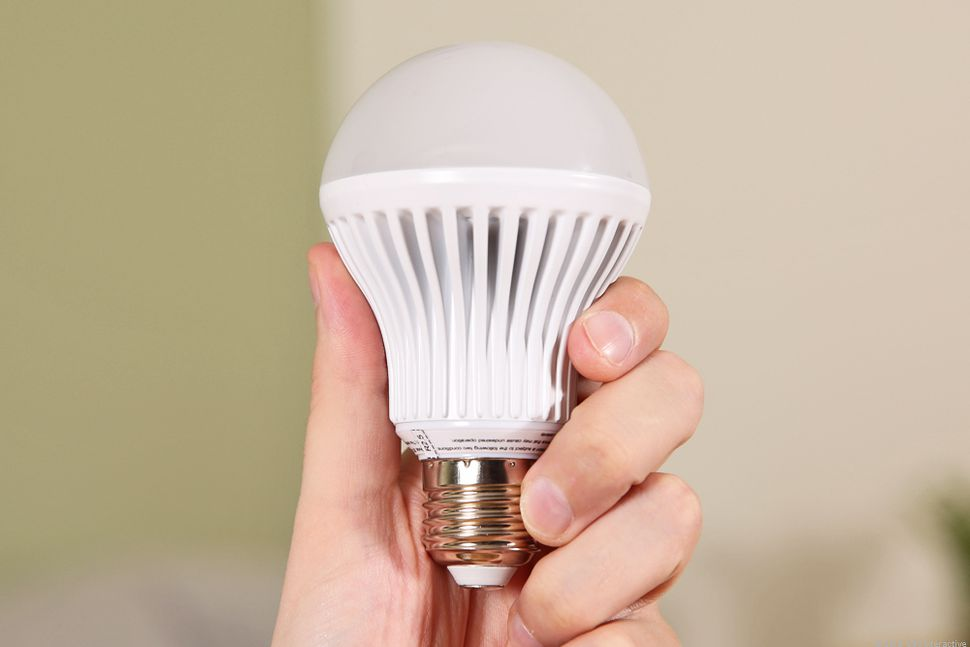 holding LED light bulb