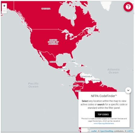 NFPA code finder online map
