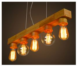 hanging ceiling Vintage fixture with Edison bulbs