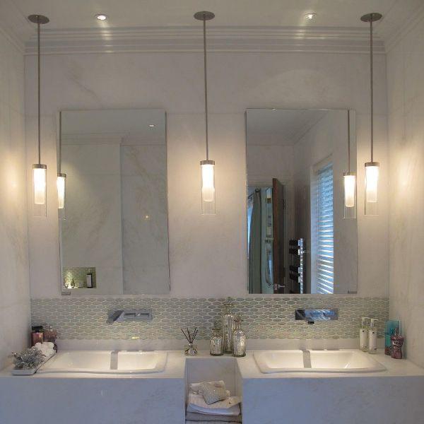 Pendant Lights by bathroom mirrors