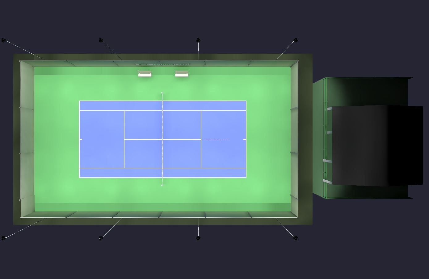 3D model of tennis court with LED lighting fixtures