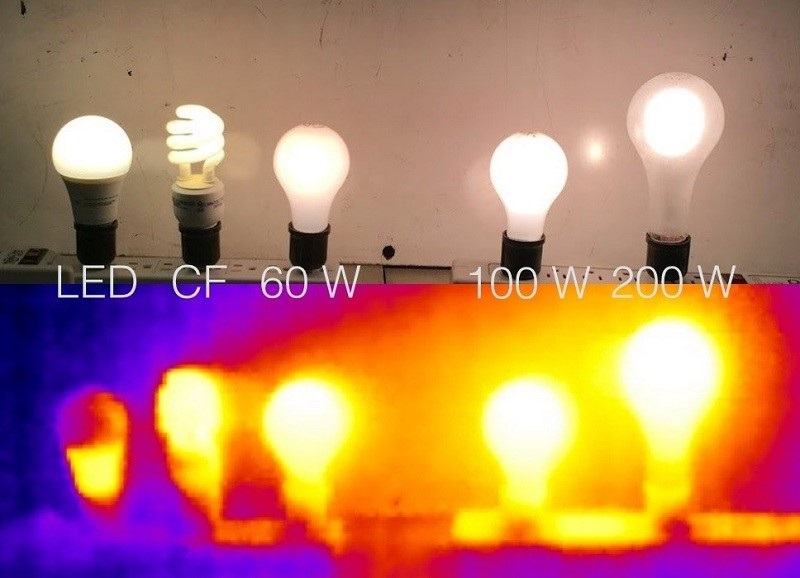 Comparing Heat emitted by different types of light bulbs
