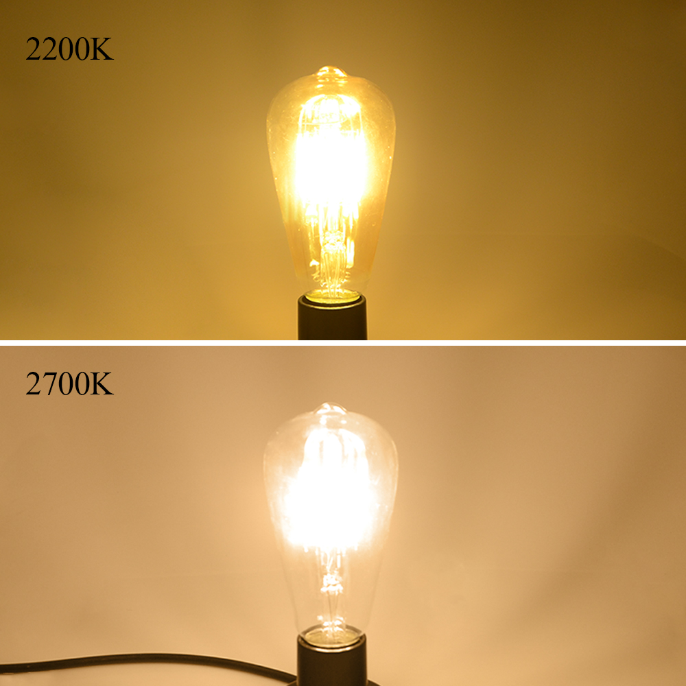 2200K vs 2700K color temperature of two LED filament bulbs