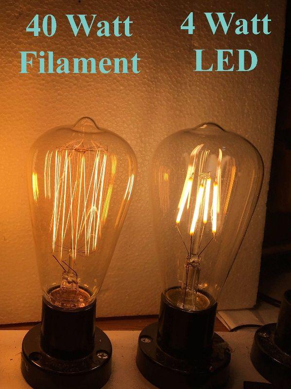 LED filament to filament Incandescent light bulb wattage equivalence