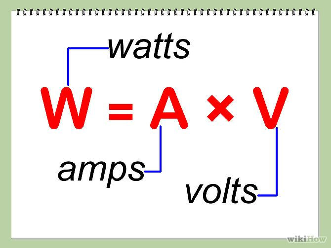 watts, amps, and volts equation