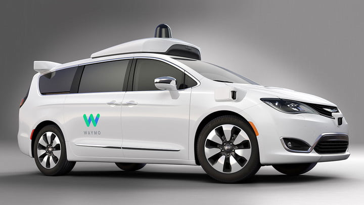 Waymo taxi in show room